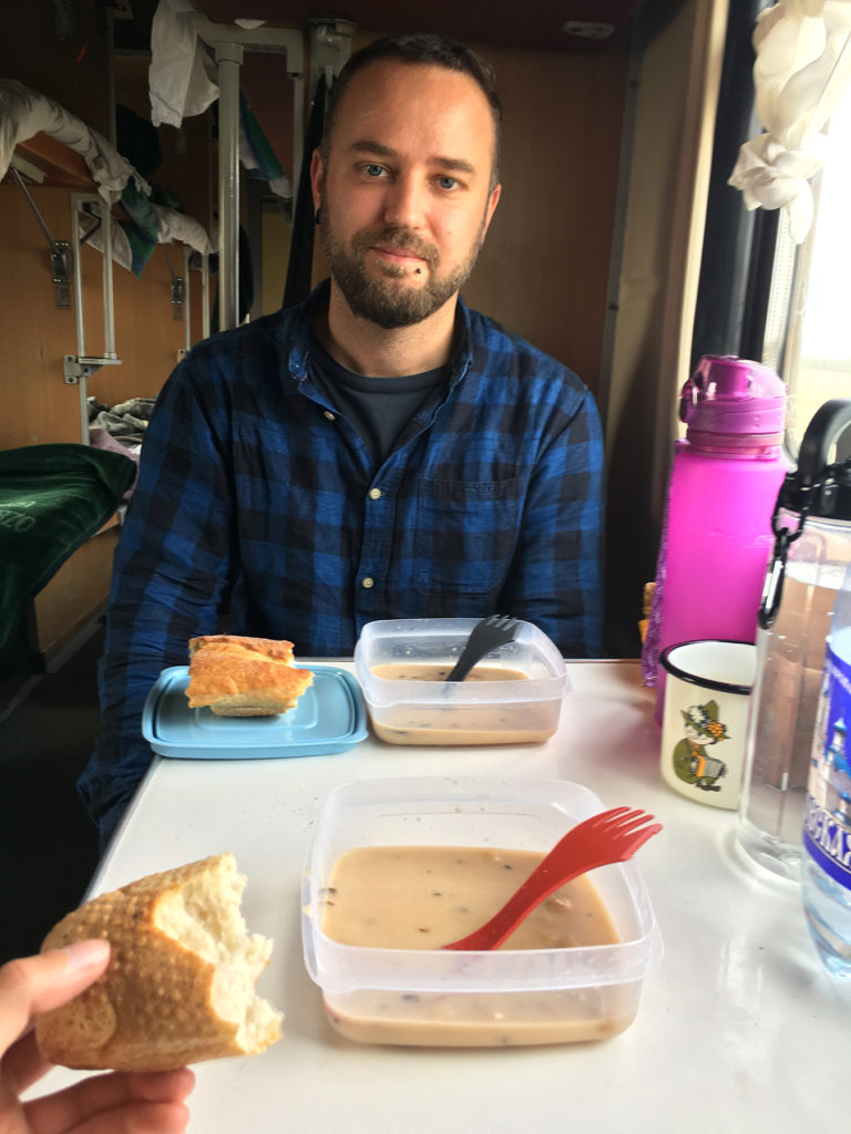 Delicious mushroom soup and dried up bread