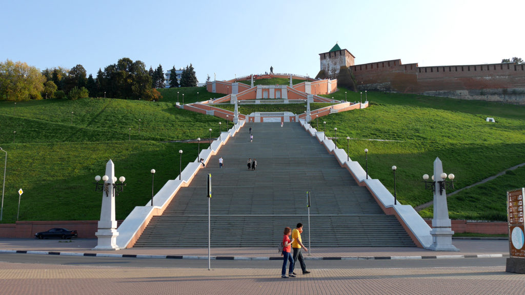 The famous stairs of Nizhny Novgorod