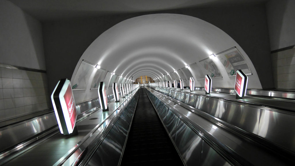 The only metro line in Almaty was short but the tunnels were deeeep