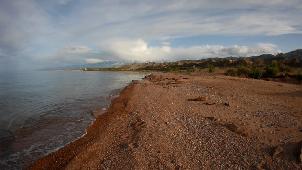An empty beach by the Lake Issyk-Kul