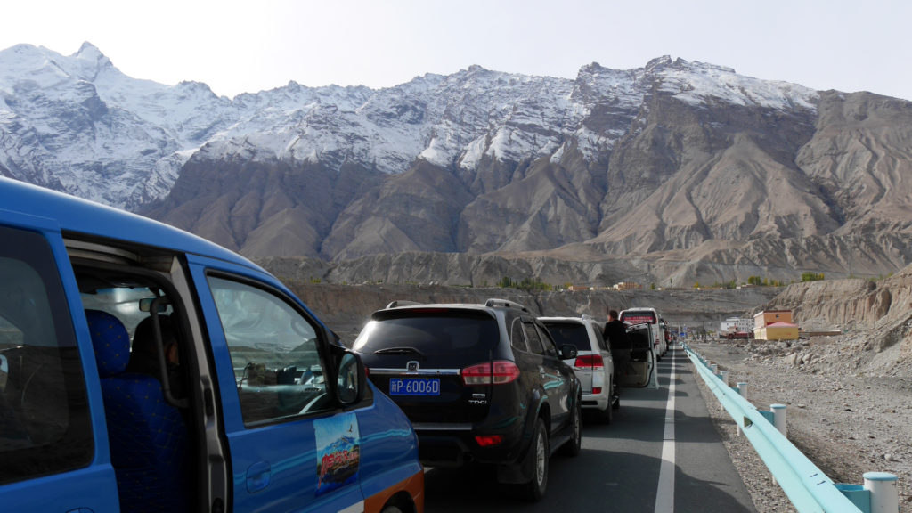 Cars waiting to get to the checkpoint