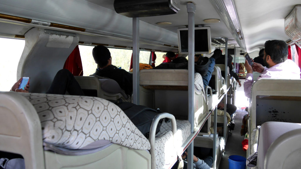 The bunkbeds in a Chinese sleeper bus are set in three rows