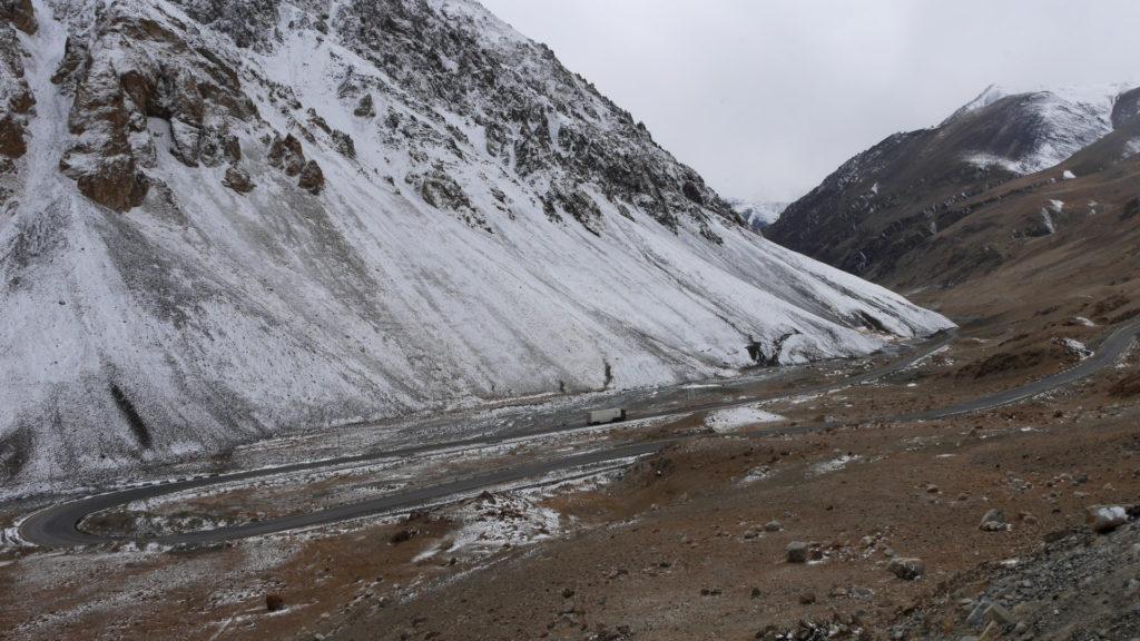 The Karakoram Highway winding downwards