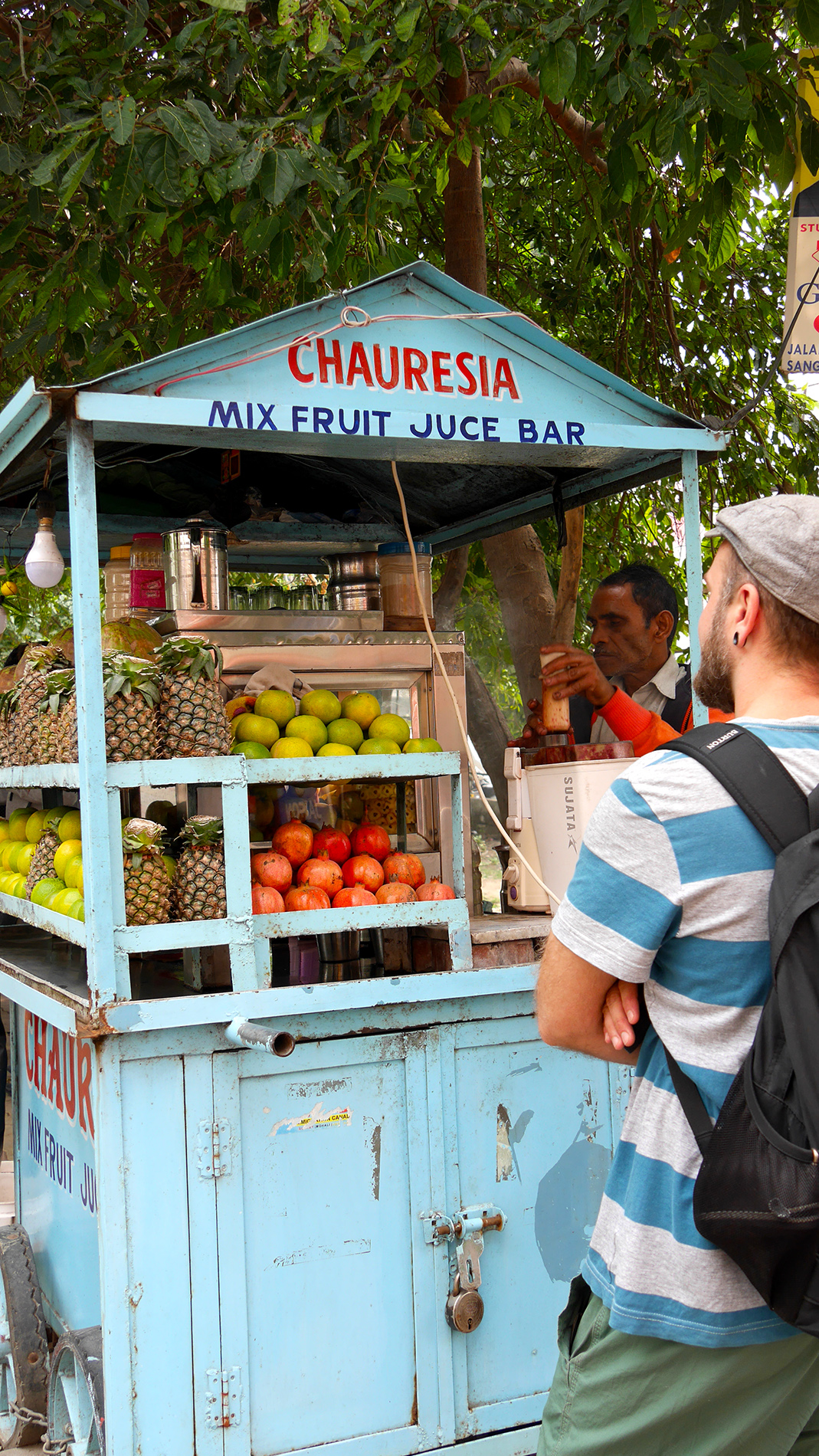 Fresh fruit juice is sold around the city
