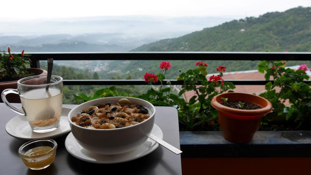 Breakfast porridge and ginger-lemon-honey at Om Cafe