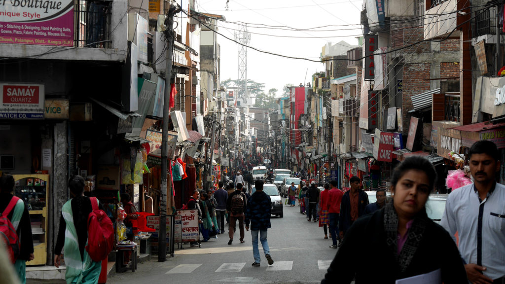 The busy market street of Palampur