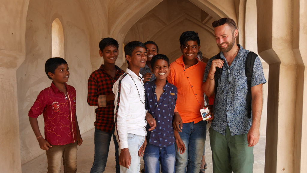 Seri with some local school boys at one of the temples