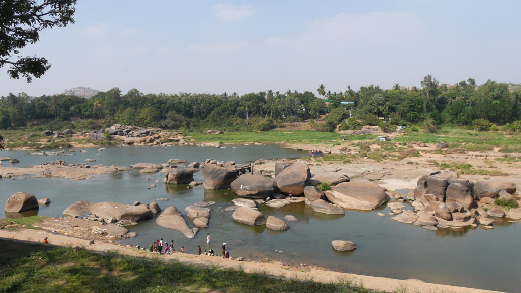To get to Hampi Island one has to cross the river from the temple side