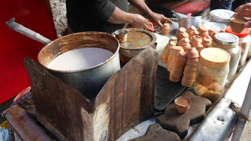 Chai is often served in small, disposable clay cups