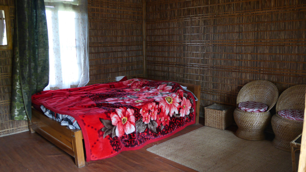 The interior of our comfy hut at Maibong Eco Resort