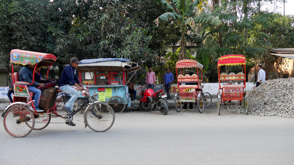Bicycle rickshaws are a traditional way to move shorter distances in Guwahati