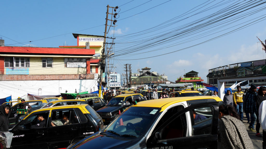 Street full of taxis in Shillong