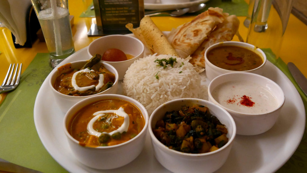 Delicious thali at Jiva South restaurant