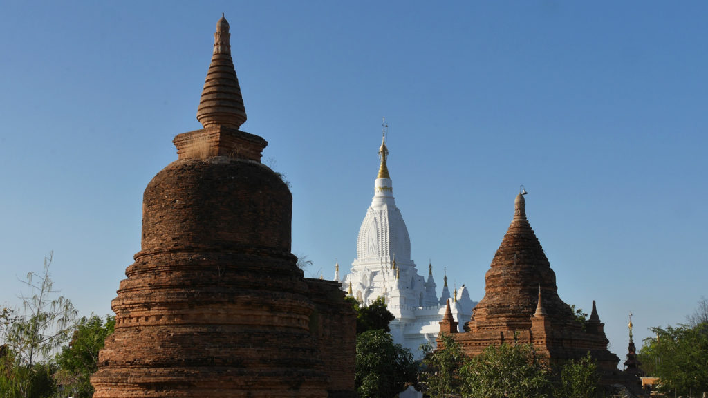 Brown and white pagodas