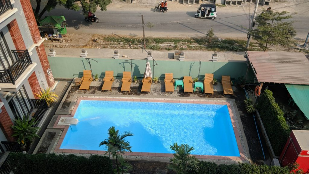 Nan Bwe Hotel in Mandalay, and the first time on this journey that we had a pool