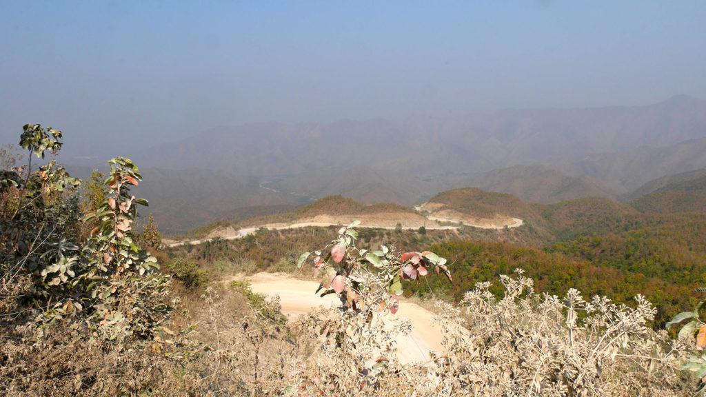 Curvy, dusty mountain road