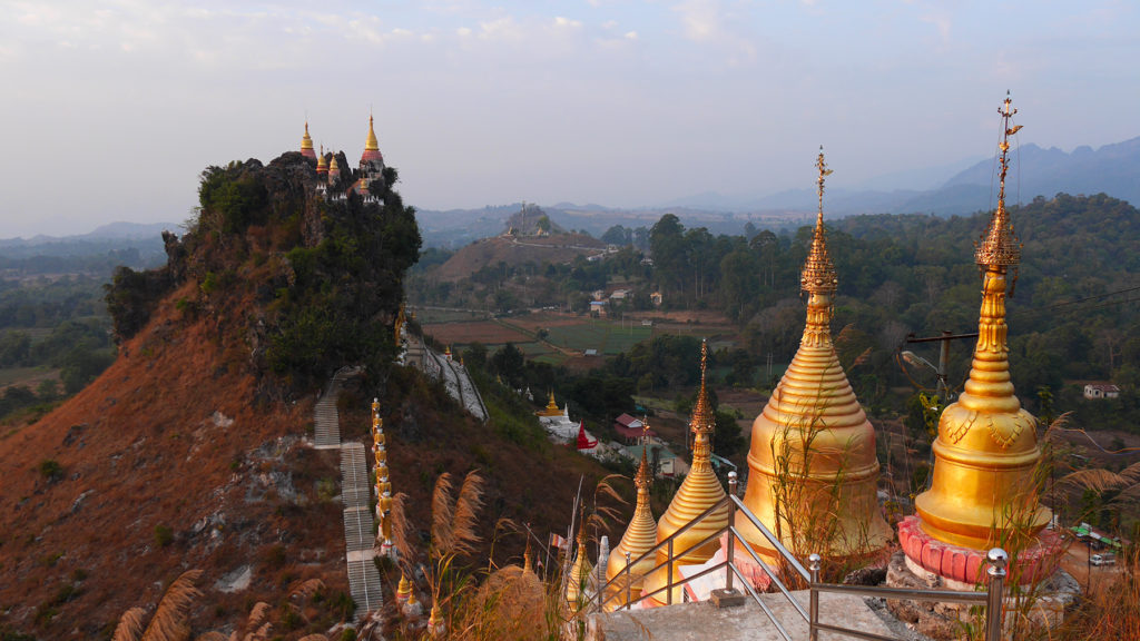 Amazing Main Ma Ya Thakinpa pagoda up on a mountain