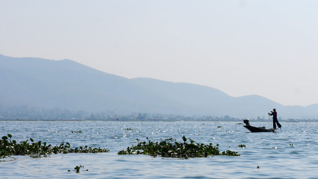 Man fishing in traditional style at Lake Inle