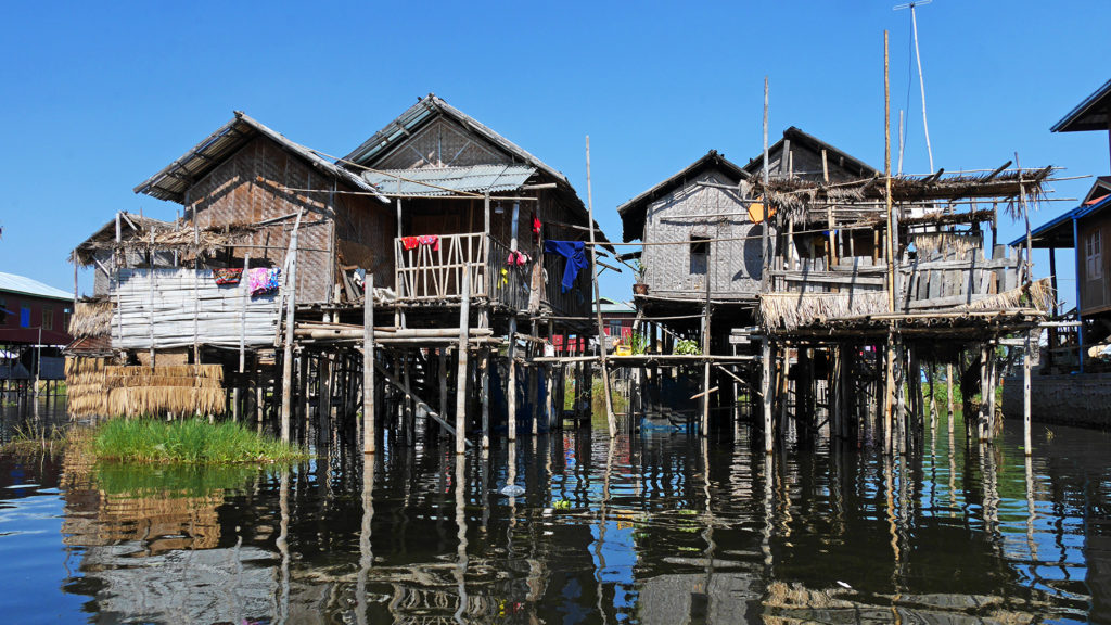 Houses built above water at Lake Inle