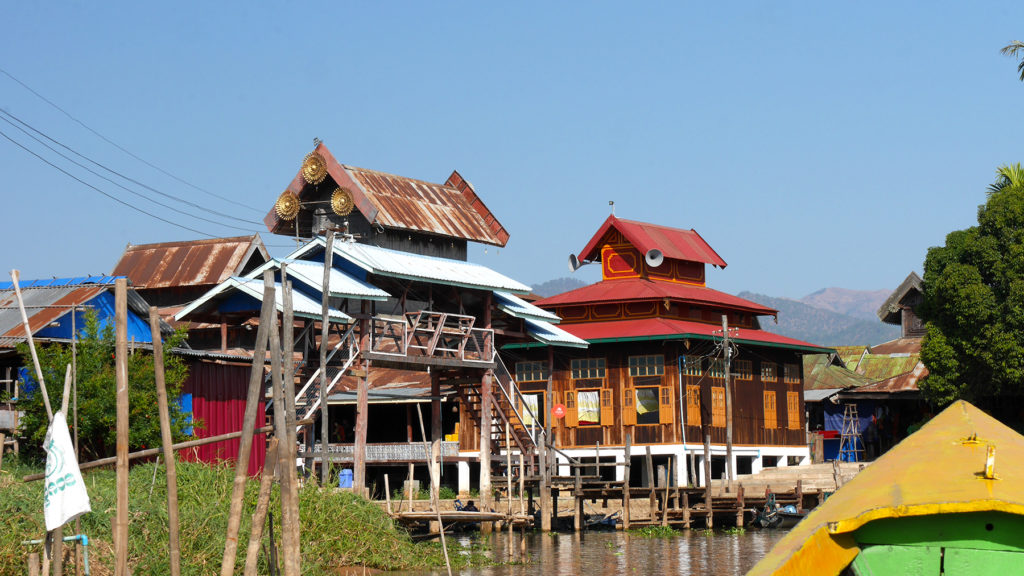 An old wooden temple along our boat tour at Lake Inle