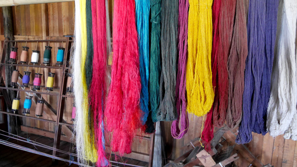 Some yarns at the lotus fabric workshop at Lake Inle