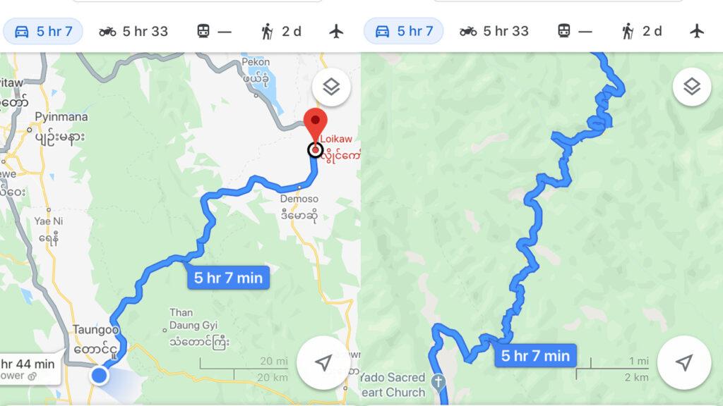 Koko reitti Loikaw'sta Taungoohon ja muutama mutka lähemmin tarkasteltuna